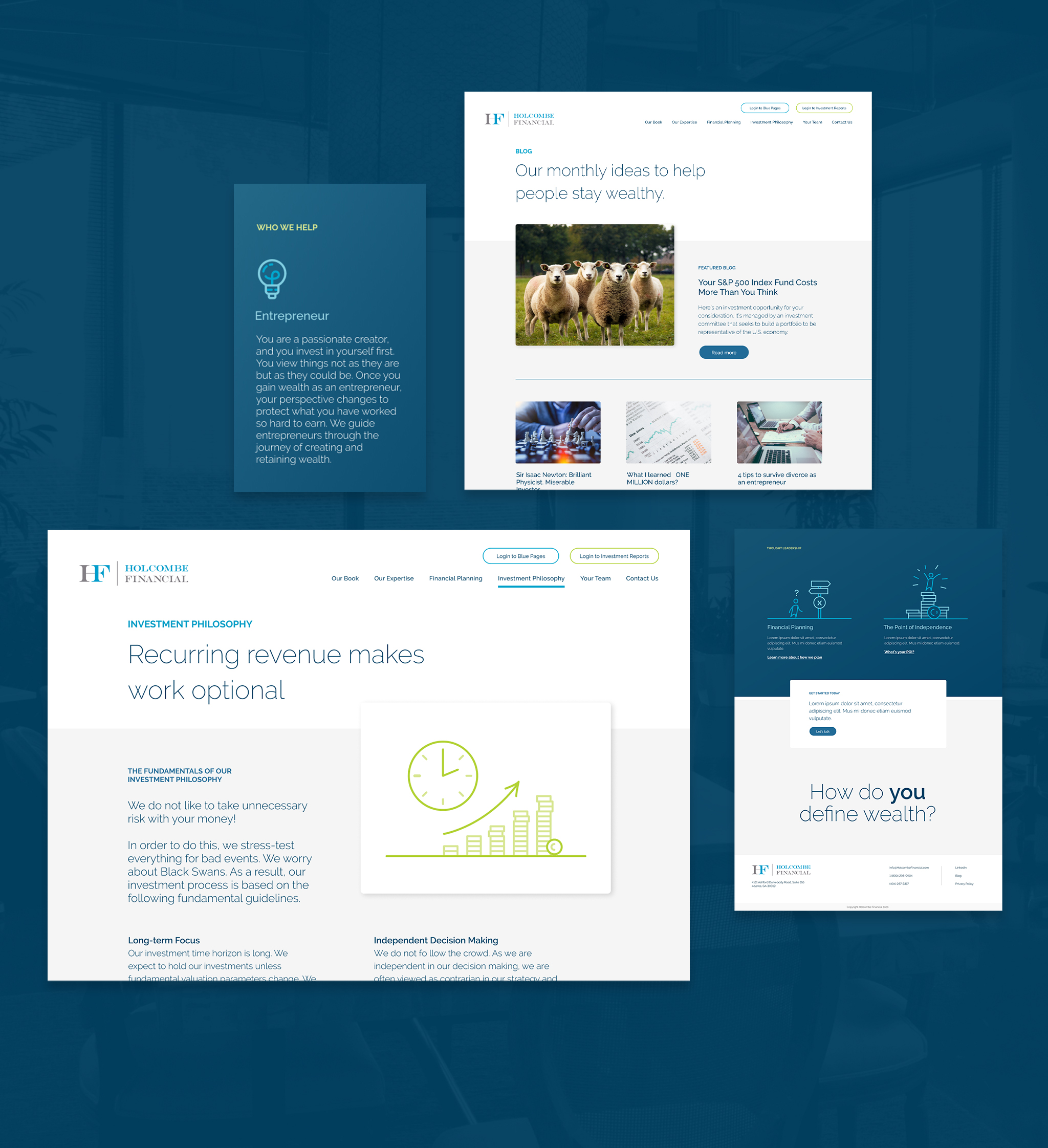 Holcombe Financial Website - flat images of page designs